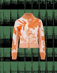 PORTRAYAL: Cardigan in maglia crema e pesca con motivo floreale