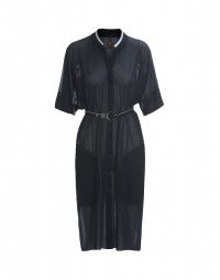 PHOTON: Navy sheer perforated jersey shirt dress