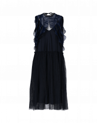 AURA: Sleeveless tech tulle dress with organza ruffles