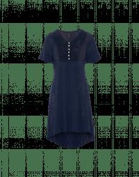 WAVELENGTH: Tunica in maglia tecnica blu navy con pettorina in pizzo