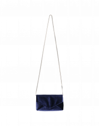MORE-OR-LESS: Navy tech-velvet envelope clutch bag