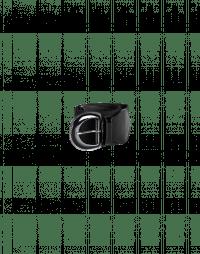 NETWORK: Cintura elastica nera con inserti in pelle lucida