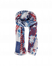 CORRESPOND: Large scarf in silk and cotton in stripe and floral