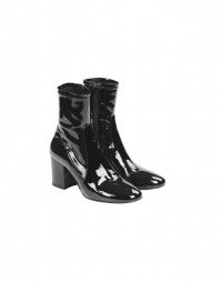 PEALE: HIGH tech black patent ankle boots