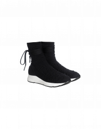 ZING: Black stretch jersey sock-boot