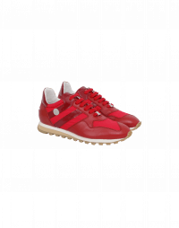 NEW-FRANTIC: Sneakers rosse in nylon e pelle