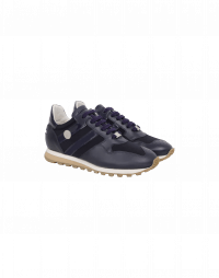 NEW-FRANTIC: Navy nylon with matt and patent leather sneakers