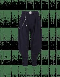DESCEND: Pantaloni blu navy con drappeggio