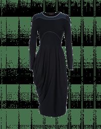 CHOREOGRAPH: Navy and white wrap dress