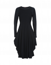 JESSY: Navy jersey with velvet stripe dress