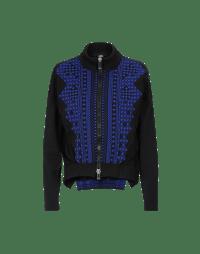 GENERATE: Blue and black zip cardigan