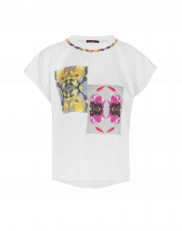 SIGNAL: Tech satin and georgette t-shirt with art print