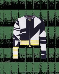 CONFIDENT: Cardigan con zip e motivo geometrico blu, bianco e giallo