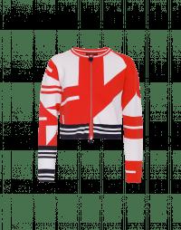 CONFIDENT: Cardigan con zip e motivo geometrico rosso, bianco e blu