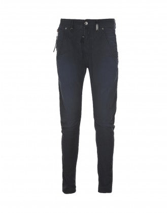 STEFAN: Pantaloni blu Cambridge con cuciture