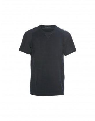 TOR: T-shirt blu in jersey tecnico con dettaglio frontale