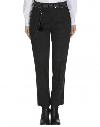 FIDGET: Straight leg pant in jersey grey melange