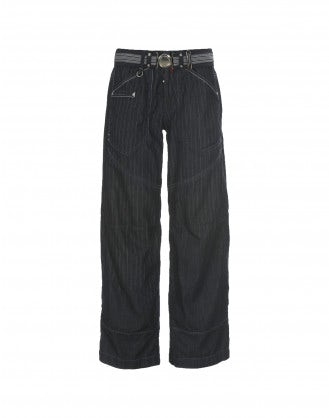"GO-AHEAD: ""Laser shade"" blue pinstripe jeans"