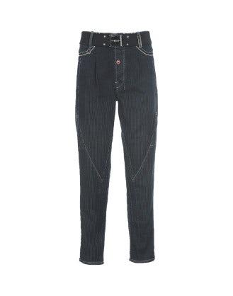 HIGH-SERGY: Ticking stripe traverse seam jeans