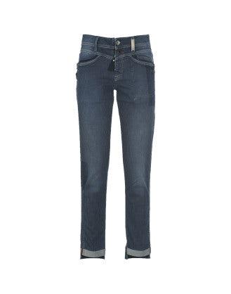 "CALL-ME: Faded ""ticking stripe"" slim leg jeans"