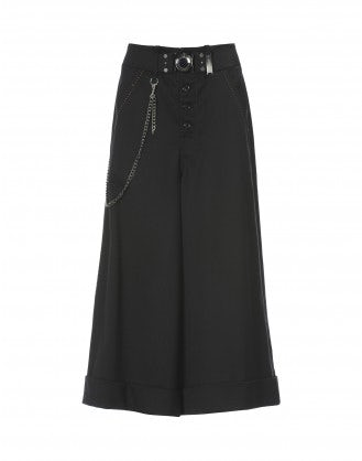 BUCCANIER: Black cropped stretch gabardine flares