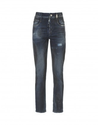 "OUR-GIRLS: Fade wash ""leather stain"" skinny jeans"