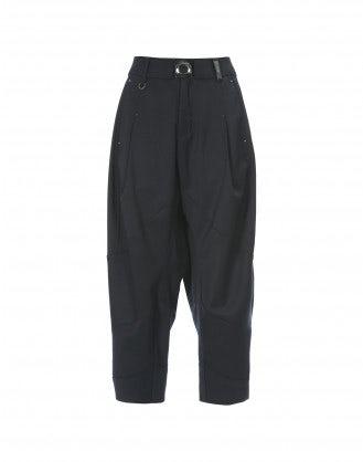 BRIGAND: Pantaloni alla caviglia in lana blu navy