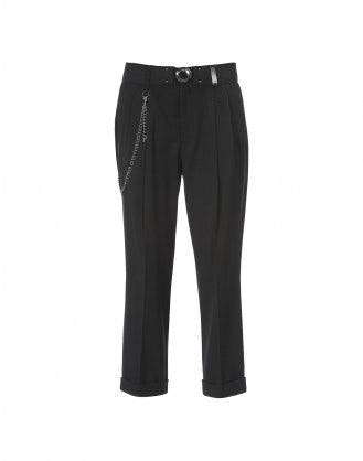 COURAGE: Pantaloni in crêpe stretch neri
