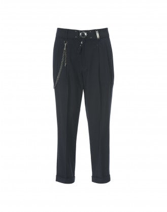 COURAGE: Pantaloni in crêpe stretch blu navy