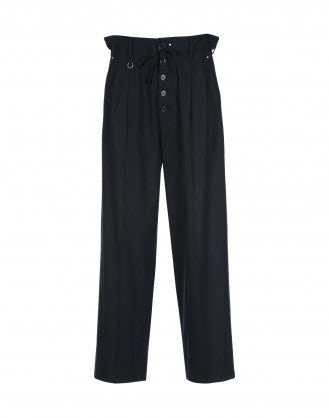 RATIO: Navy button front pant with drawstring