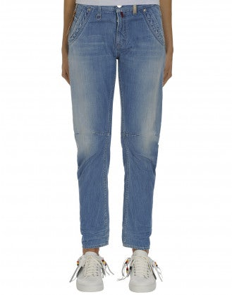 HAVOC: Light blue denim shaped leg jeans