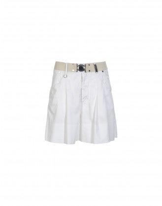 HOPSCOTCH: White wide leg bermuda shorts