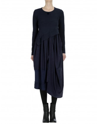 WHIRLWIND: Long sleeve multi fabric and texture navy dress
