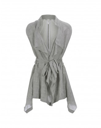 LANYARD: Gilet con drappeggio frontale, grigio