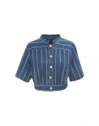 DAZE: Short sleeve print mix denim jacket