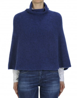 HOTSPOT: Poncho morbido a collo alto color blu mélange