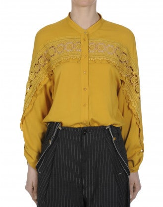 THINKER: Long tailed shirt in rayon and lace
