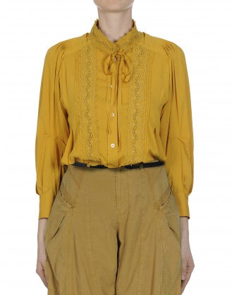 MEMORY: Tie neck shirt in saffron rayon and ribbon lace <br /><br />