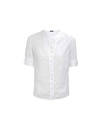 CHARLOTTE: White cotton puff sleeve shirt
