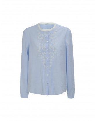 CHAPLET: White collar pin tucks shirt