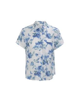 FLORA: Delft blue floral print shirt