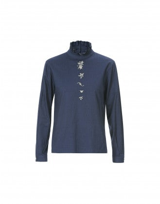 PROLOGUE: Blusa blu scuro a collo alto con ricamo