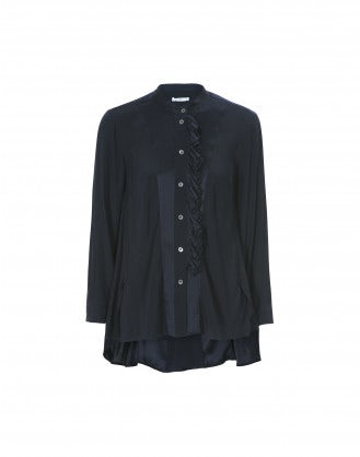 IMPLY: Camicia blu navy in raso effetto tuxedo