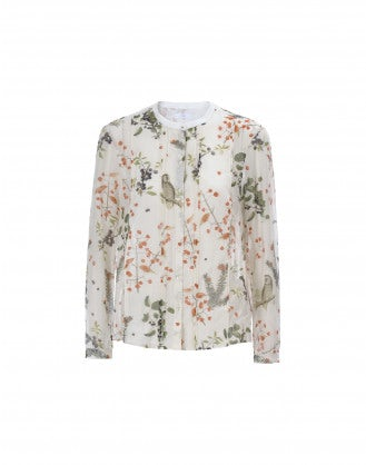 COMBO: Silk birds and berries print shirt