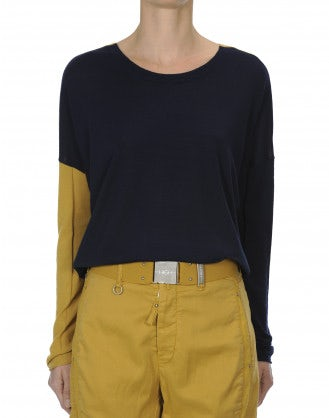 INTERLACE: Maglia bicolore con allacciatura posteriore, blu navy e giallo