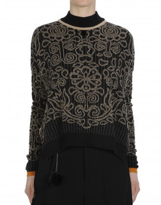 ACADEMY: Mock turtle neck sweater with geometric floral and brocken stripe