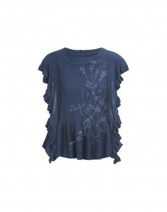 SKIFF: Laser flower frill knit top