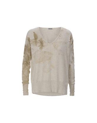 EOS: Gold colour watercolour wash V-neck sweater