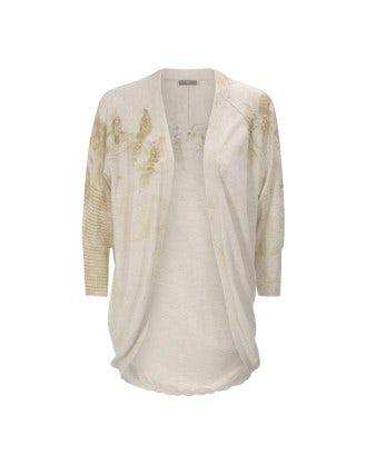 BEAU: Cardigan in cotone con stampa floreale dorata