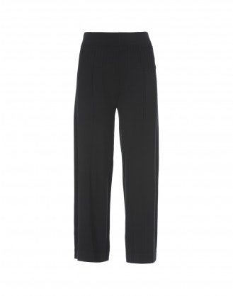 NATTY: Black cropped knitted jersey flares